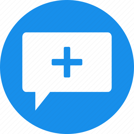 add, blue, chat, circle, comment, conversation, discussion icon