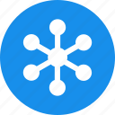 blue, circle, communication, internet, network, networking icon