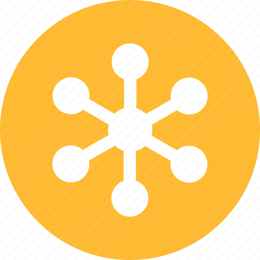 circle, communication, internet, network, networking, yellow icon