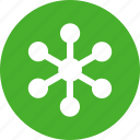 circle, communication, green, internet, network, networking icon
