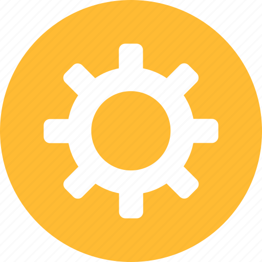 circle, config, configuration, gear, preferences, setting, yellow icon