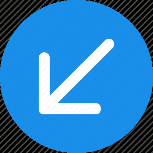 arrow, blue, bold, circle, down, left icon