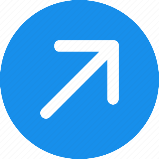arrow, blue, bold, circle, right, up icon