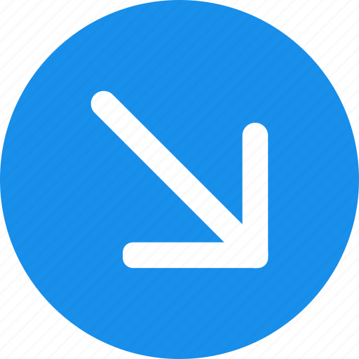 Arrow, blue, circle, down, down-right icon, right icon - Download on Iconfinder
