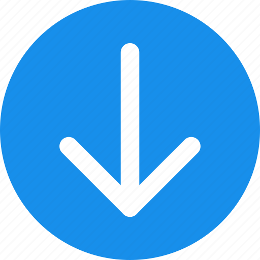 Arrow, blue, circle, descend, down, downward icon - Download on Iconfinder