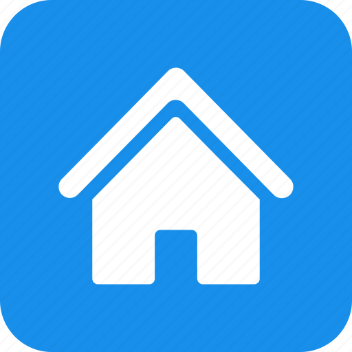 blue, building, estate, home, house, real, square icon