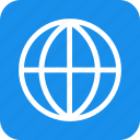 blue, global, globe, international, language, square icon