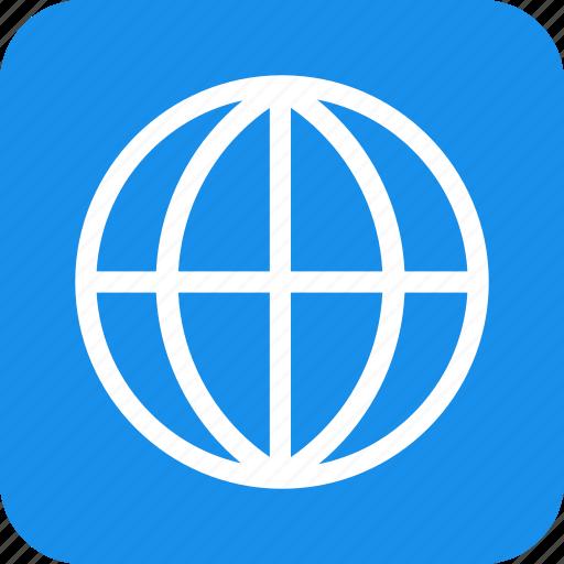 blue, global, globe, international, language, square icon