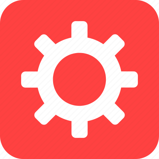 cog, customize, gear, preferences, red, square icon