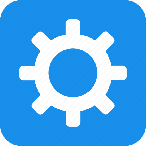 blue, cog, customize, gear, preferences, setting, square icon
