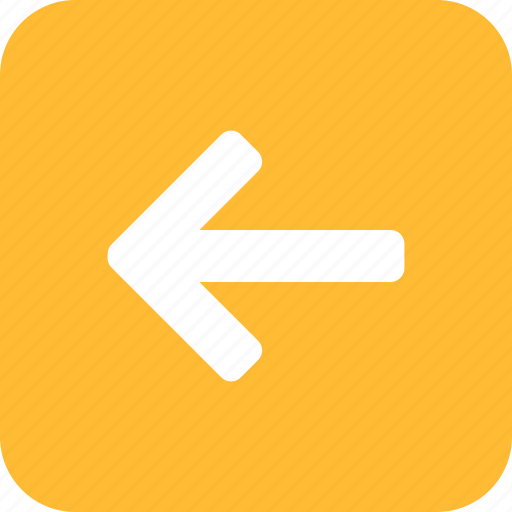 Arrow, back, left, previous, square, west, yellow icon