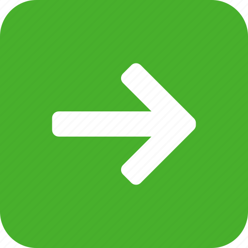 arrow, east, forward, green, next, right, square icon