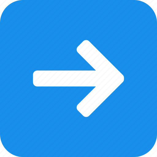 arrow, blue, east, forward, next, right, square icon
