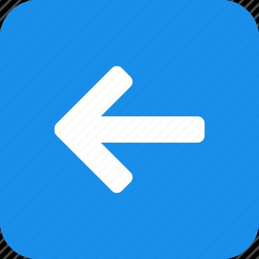 arrow, back, blue, left, previous, square, west icon