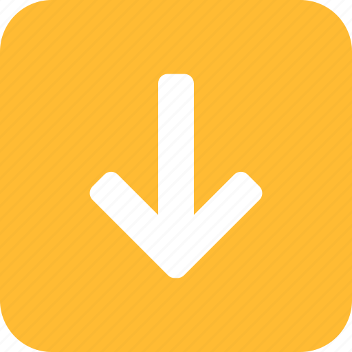 arrow, descend, down, downward, square, yellow icon
