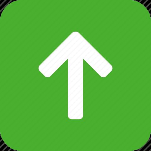 arrow, climb, direction, green, north, square icon