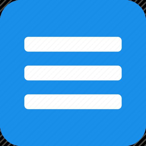 blue, hamburger, list, menu, options, square icon