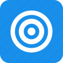 aim, blue, bullseye, efficiency, goal, marketing, square icon