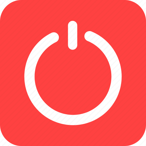 circle, close, exit, off, power, red, square icon