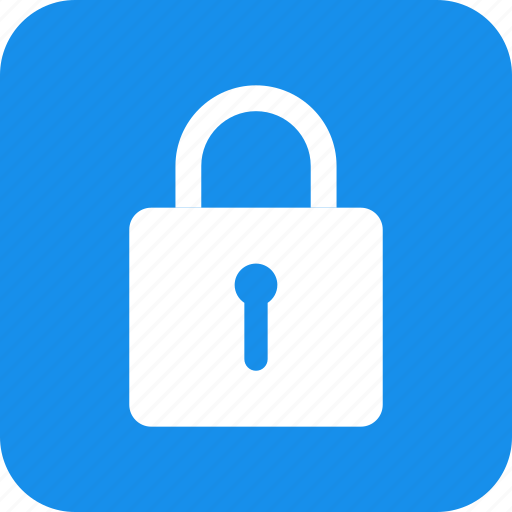 blue, lock, privacy, safe, secure, security, square icon