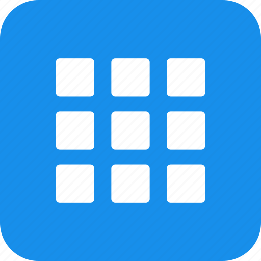 blue, collection, gallery, inventory, menu, square icon