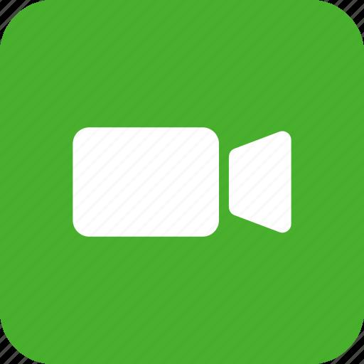 green, movie, square, video, video camera icon