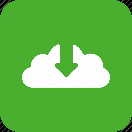 arrow, control, down, download, green, square icon