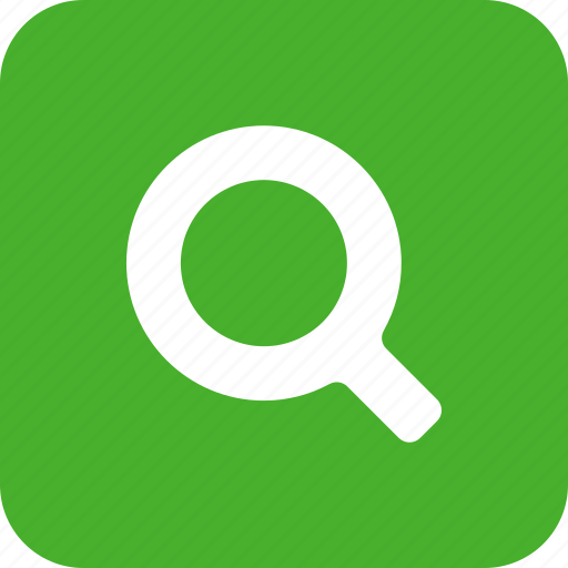 find, glass, green, magnifying, search, square icon