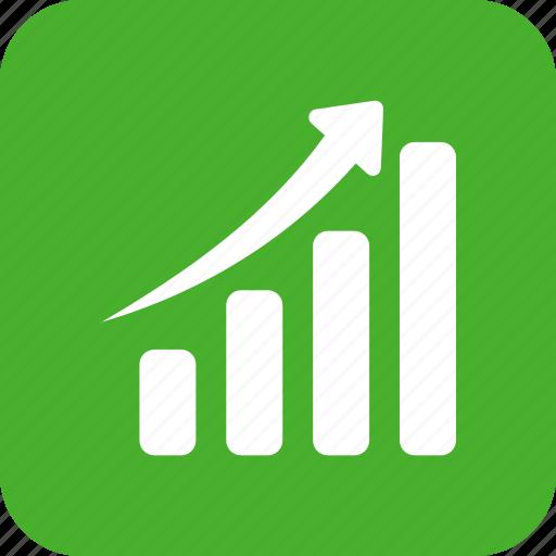 chart, graph, green, revenue growth, square icon