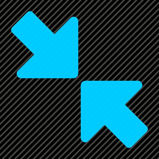 blue, minimize, reduce, reduction icon