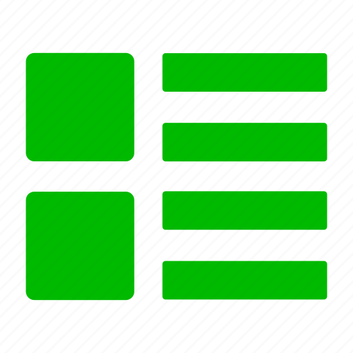 green, list, menu, thumbnails icon
