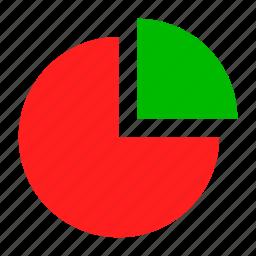 chart, green, pie, red, statistics icon