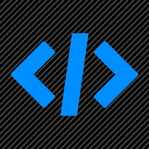 blue, code, script, source icon