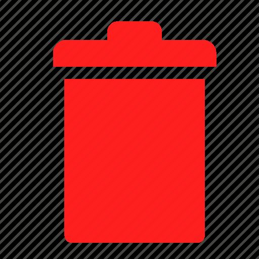 delete, empty, recycle bin, red, trash icon