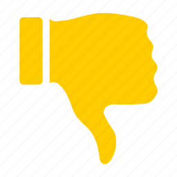 thumbs down, unlike, vote, yellow icon