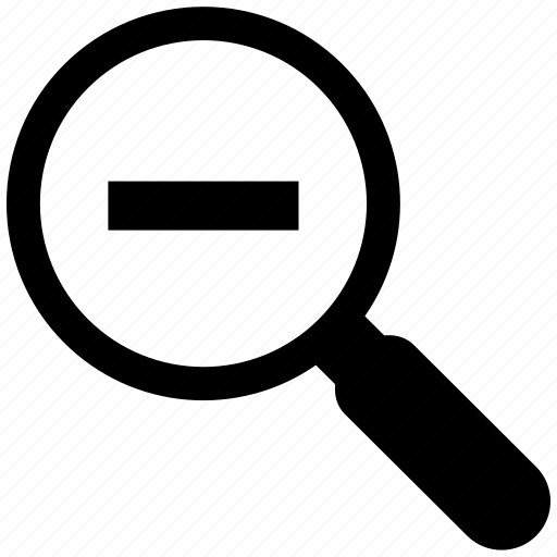 magnify, magnifying glass, minus, out, overview icon