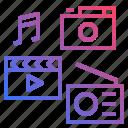 multimedia, photo, radio, video icon