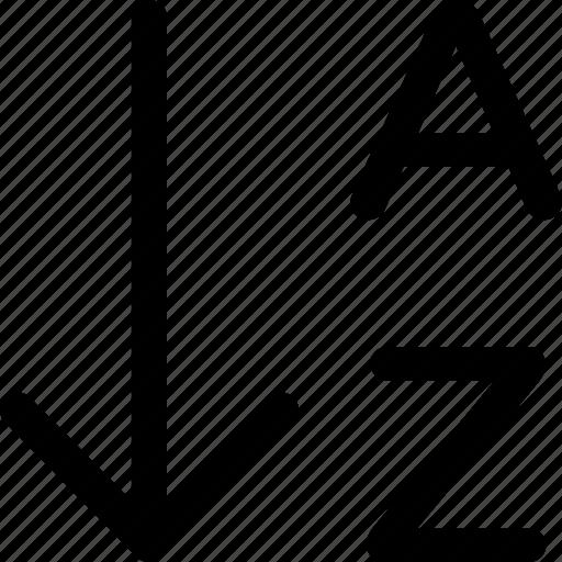 a z alphabet alphabetical arrange array order sort icon