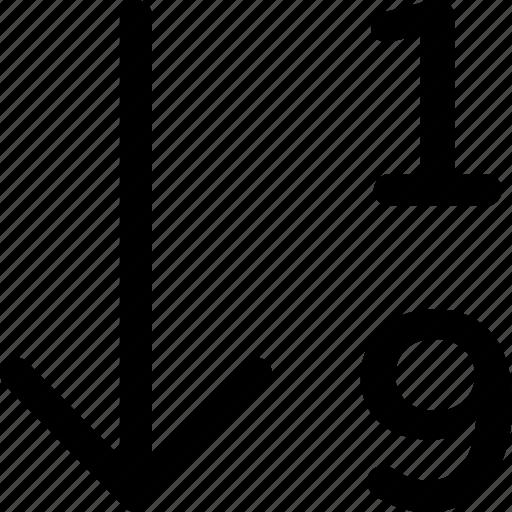 1-9, arrange, array, numbers, numeric, order, sort icon