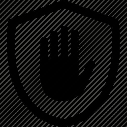 ad, adblock, block, hand, security, shield, stop icon