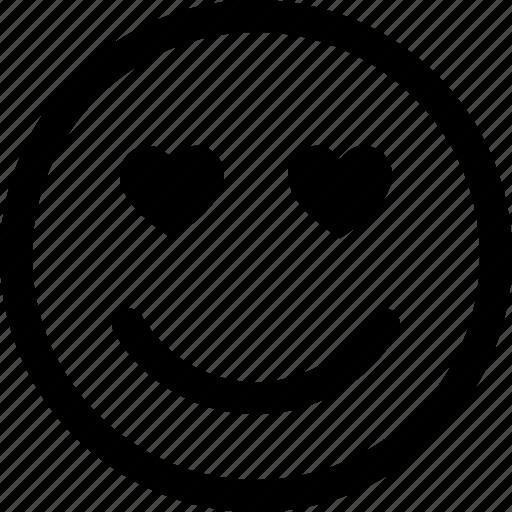 face, happy, heart, in, love, lovestruck, smiley icon
