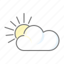climate, cloud, meteorology, partially cloudy, sun, weather icon