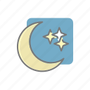clear, climate, meteorology, moon, night, stars, weather icon