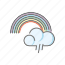 climate, cloud, meteorology, rain, rainbow, weather icon