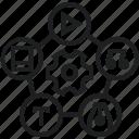 configuration wheel, options circle, options menu, settings icon