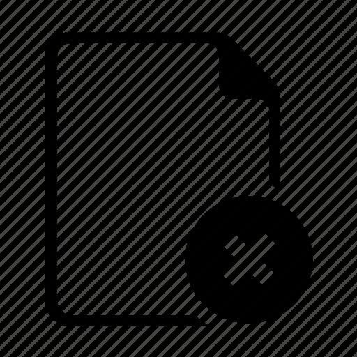 delete, document, exclude, file, remove icon