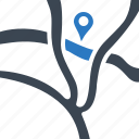map, tracking icon