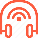 connection, equipment, headphones, music, signal, wifi, wireless icon
