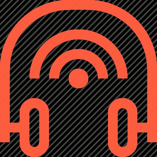 connection, equipment, headphones, music, signal, wifi, wireless icon