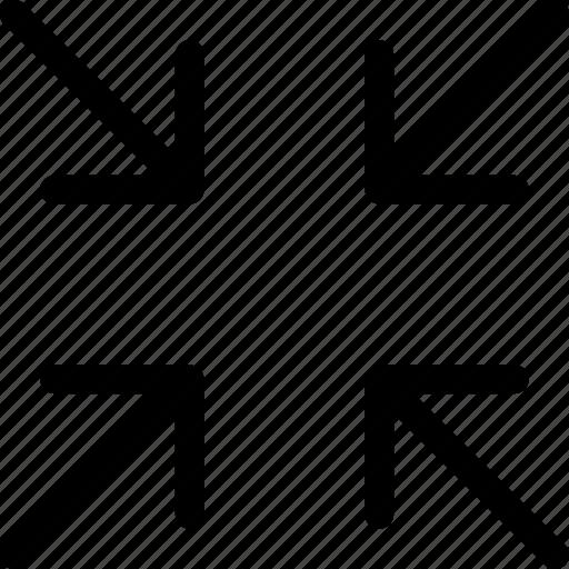 arrows, exit fullscreen, minimize, scale down icon